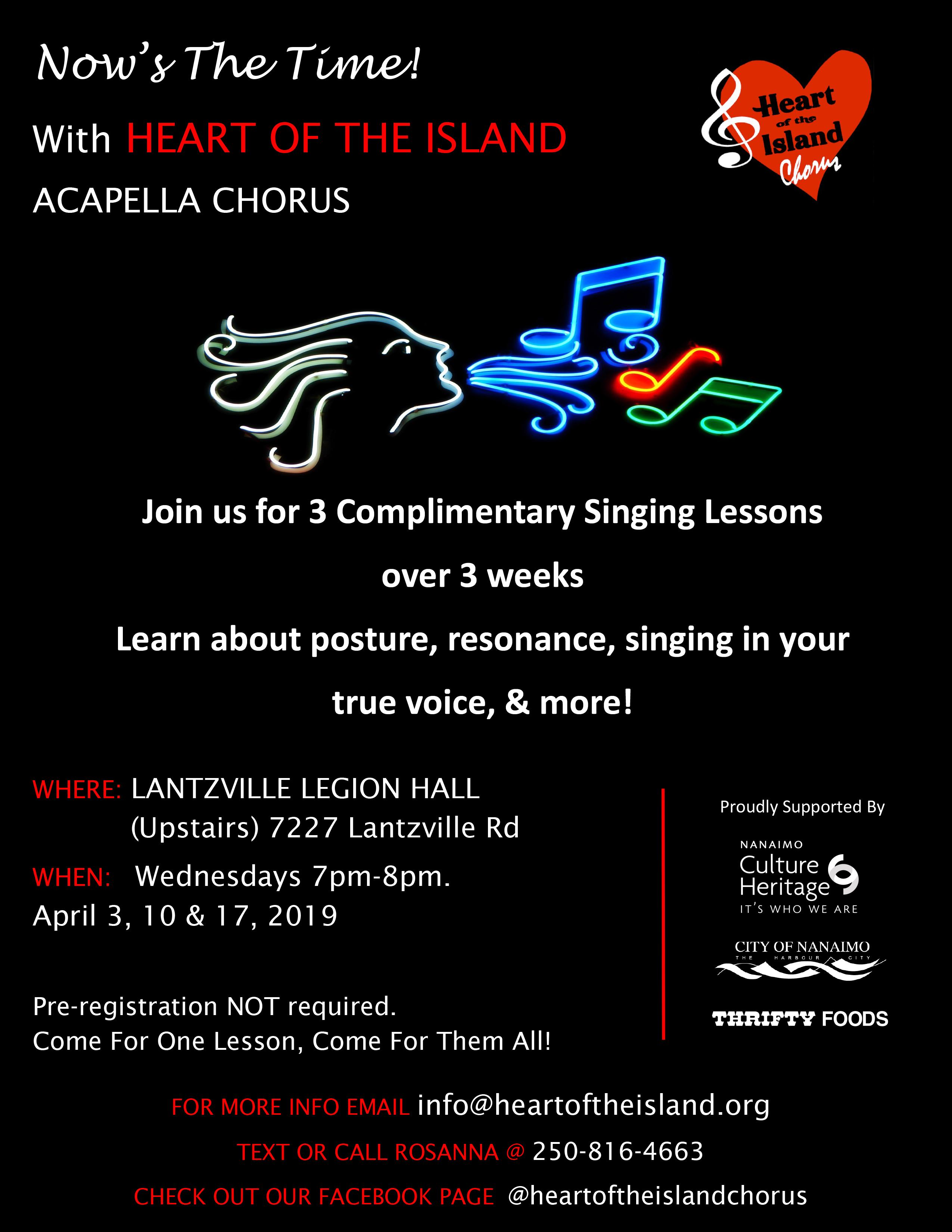 Now's The TIme! Free Singing Lessons